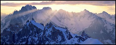 Rugged peaks of the Mont-Blanc Range. France (Panoramic color)