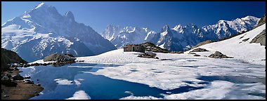 High mountain landscape with partly frozen lake and Mont-Blanc Range. France (Panoramic color)