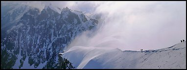 Ridge with alpinists and high peaks. France (Panoramic color)