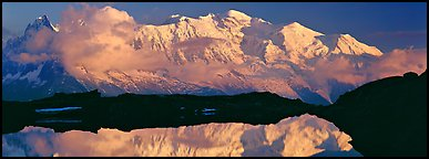 Mountain and sunset reflection, Mont-Blanc. France (Panoramic color)