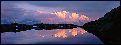 Mountain scenery with high peak reflected at sunset, Mont-Blanc. France (Panoramic color)
