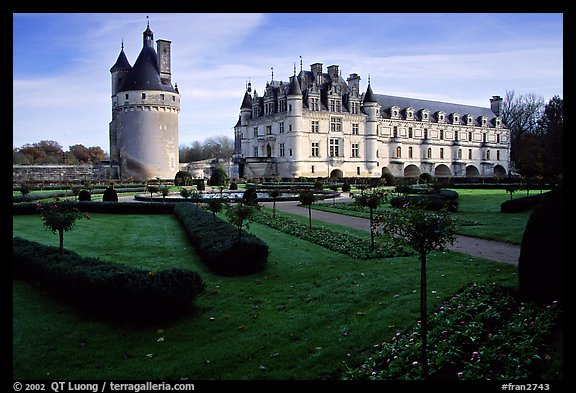 Chenonceaux chateau and gardens. Loire Valley, France (color)