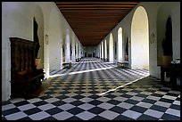 Gallery hall in the Chenonceaux chateau. Loire Valley, France (color)