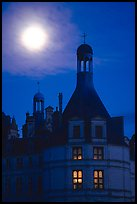 Detail of Chambord chateau with moon. Loire Valley, France ( color)