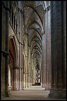 Side  aisle inside Bourges Saint Stephen Cathedral. Bourges, Berry, France