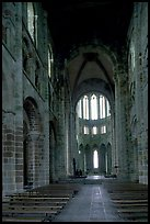 Austere chapel inside the Benedictine abbey. Mont Saint-Michel, Brittany, France
