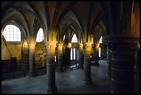 Hall of the knights inside the Benedictine abbey. Mont Saint-Michel, Brittany, France