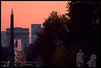 Obelisk of the Concorde and Arc de Triomphe at sunset. Paris, France ( color)