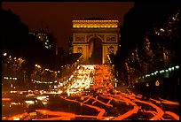 Arc de Triomphe and Champs Elysees at night. Paris, France (color)