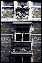 Facade of Lycee Louis-le-Grand, founded by Louis XIV in the 17th century. Quartier Latin, Paris, France ( color)