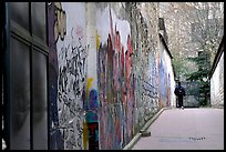 Boy in side alley with graffiti on walls. Paris, France ( color)