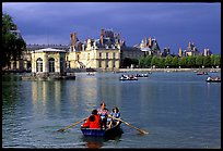 Rowers and Fontainebleau palace. France ( color)