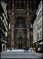 Facade of the Notre Dame cathedral seen from nearby street. Strasbourg, Alsace, France