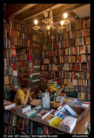 Front counter of Shakespeare and Company bookstore. Quartier Latin, Paris, France (color)