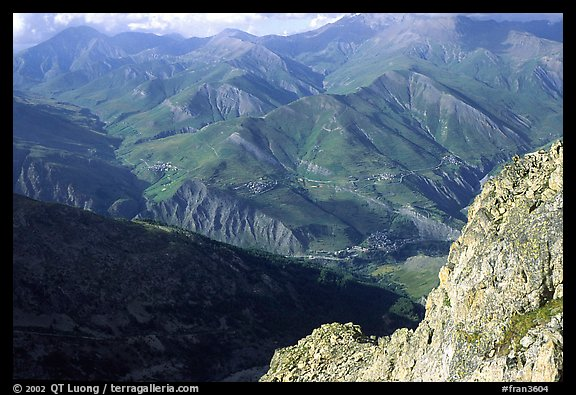 View of La Grave plateau and villages. France (color)