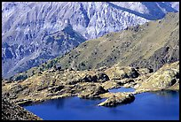 Lake and mountain hut, Mercantour National Park. Maritime Alps, France ( color)