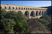 Pont du Gard spanning Gardon river valley. France (color)