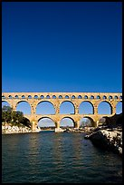 Roman Aqueduct and bridge over the Gard. France (color)