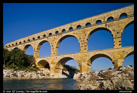 Roman aqueduct over Gard River. France (color)