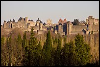 Distant view of fortified town. Carcassonne, France ( color)