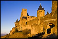 Fortress and gate, late afternoon. Carcassonne, France (color)