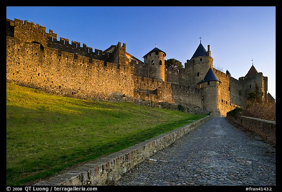 Path leading to old walled city. Carcassonne, France