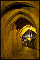Rue Cros Mayerevielle through medieval Porte Narbornaise. Carcassonne, France ( color)