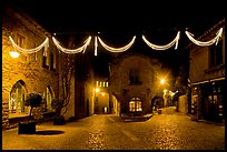 Place a Pierre Pont with Christmas decorations at night. Carcassonne, France
