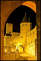 Medieval castle illuminated at night. Carcassonne, France