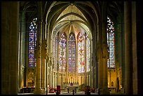 Interior and stained glass windows, basilique Saint-Nazaire. Carcassonne, France ( color)