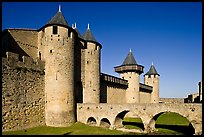 Chateau Comtal inside medieval city. Carcassonne, France (color)