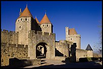 Main entrance of fortified city and drawbridge. Carcassonne, France