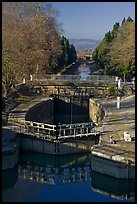Lock chamber and gate, Canal du Midi. Carcassonne, France (color)