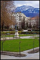 Public garden and snowy mountains. Grenoble, France (color)