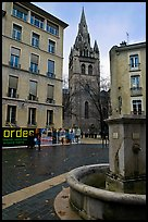 Fountain, square, and church. Grenoble, France (color)