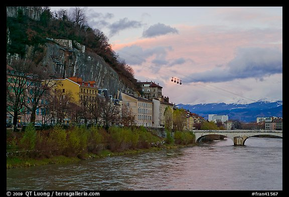 Isere River and cable-car at sunset. Grenoble, France (color)