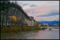 Isere River and cable-car at sunset. Grenoble, France ( color)