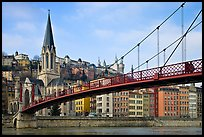 Suspension brige on the Saone River and St-George church. Lyon, France (color)