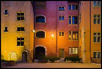 Maison des Avocats facade at night with lights. Lyon, France ( color)