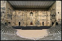Tiered seats, orchestra, stage, and stage roof, Roman theater. Provence, France ( color)
