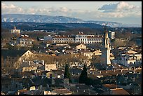 View over town and Alpilles mountains. Avignon, Provence, France ( color)