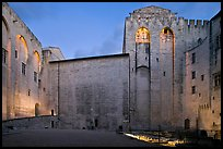 Honnor Courtyard at dusk, Papal Palace. Avignon, Provence, France (color)