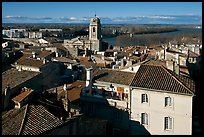 View of the city center with Rhone River. Arles, Provence, France ( color)