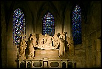 Lit sculpture of Christ laid to rest, St Trophime church. Arles, Provence, France ( color)