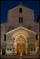 Facade of the Saint Trophimus church at night. Arles, Provence, France ( color)