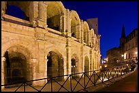 Arenes and church at night. Arles, Provence, France (color)