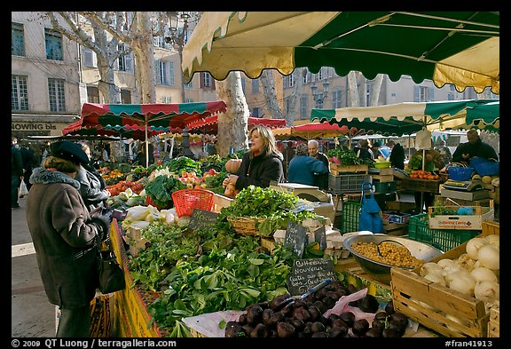 Food shopping in daily vegetable market. Aix-en-Provence, France (color)