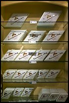 Calisson d'Aix boxes on shelves. Aix-en-Provence, France ( color)