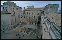 Honnor courtyard and walls from above, Palace of the Popes. Avignon, Provence, France (color)