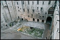 Courtyard of honnor from above, Papal Palace. Avignon, Provence, France (color)